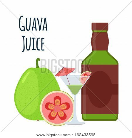 Guava juice fruit alcohol. Tropical cocktail shot with guava slices and umbrella. Flat vector style.