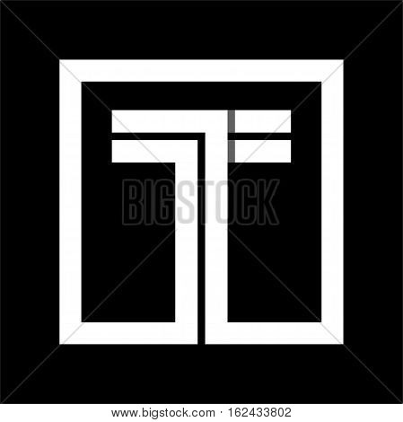 Capital letter T From white stripe enclosed in a square . Overlapping with shadows monogram, logo, emblem. Trendy design.