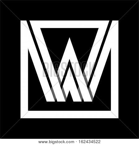 Capital letter W From white stripe enclosed in a square . Overlapping with shadows monogram, logo, emblem. Trendy design.