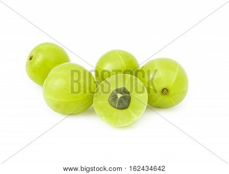 Fresh Indian gooseberry fruit on white background fruit for healthy care with benefits from high vitamin C