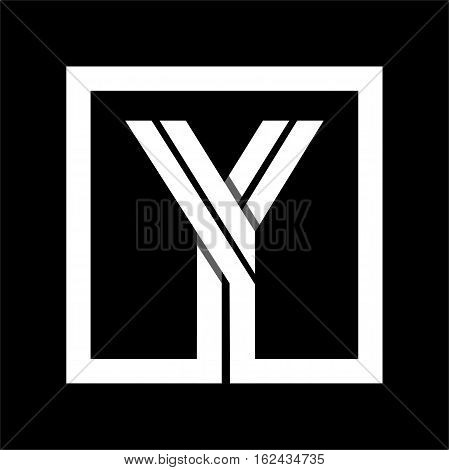 Capital letter Y From white stripe enclosed in a square . Overlapping with shadows monogram, logo, emblem. Trendy design.