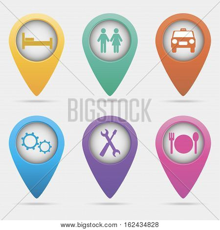 Set vector map pointers. Map pointers set isolated on a white background