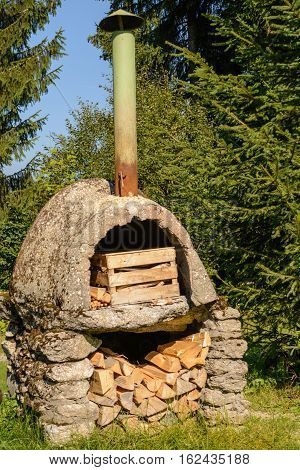 Nostalgic stone oven in the open nature - closeup nostalgic oven