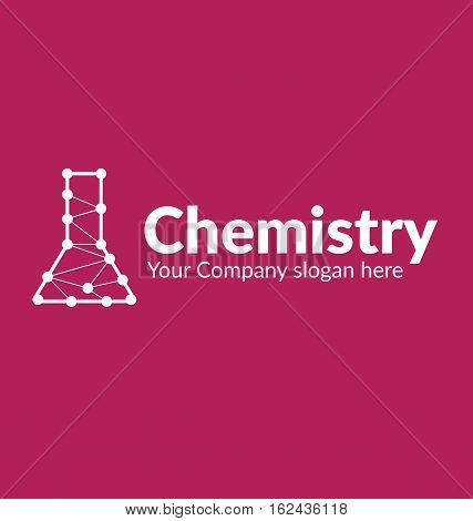 template logo silhouette chemical flask with lines connected dots on vinous background
