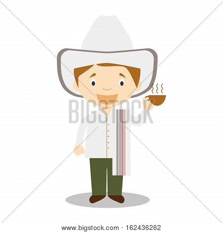 Character from Colombia dressed in the traditional way with a cup of coffee in his hand. Vector Illustration. Kids of the World Collection.