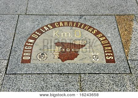 detail of kilometre zero point in Puerta del Sol, Madrid, Spain