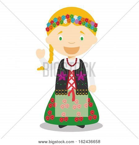 Character from Poland dressed in the traditional way Vector Illustration. Kids of the World Collection.