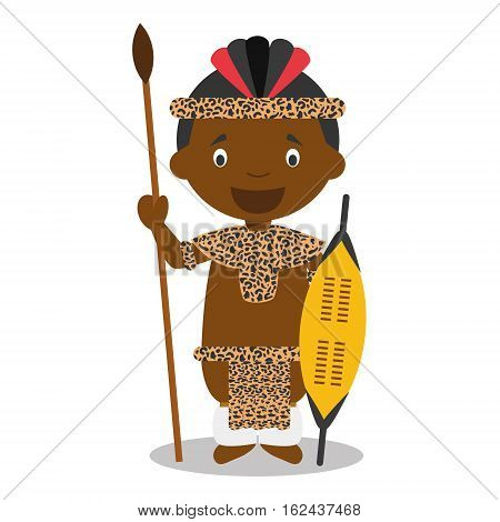 Character from South Africa. Zulu boy dressed in the traditional way of the Zulu tribe. Vector Illustration. Kids of the World Collection.