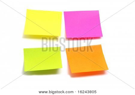 post it in different colors on a white background