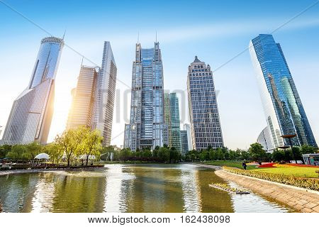 Park and modern building in Shanghai China
