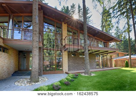Russia,Moscow region country house Chalet in the woods in the elite residential village