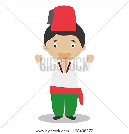 Character from Turkey dressed in the traditional way Vector Illustration. Kids of the World Collection.