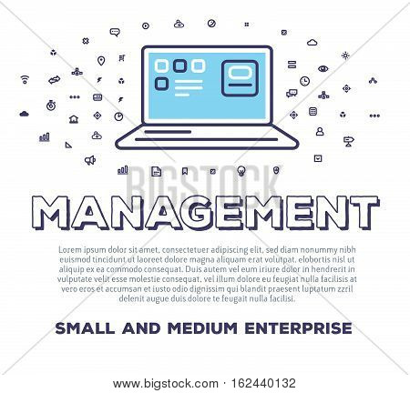 Vector Creative Illustration Of Open Laptop With Word Typography And Cloud Of Line Icons On White Ba