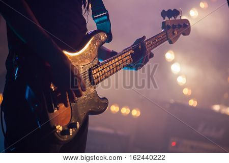 Electric Bass Guitar Player, Closeup