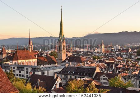 Zurich Switzerland. View of theOld town at sunset