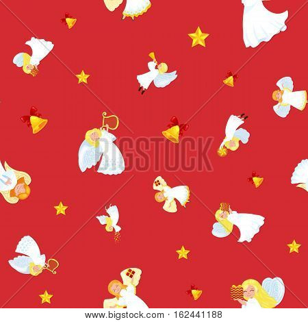 christmas holiday flying angel in the sky with wings and golden trumpet like symbol in Christian religion or new year holiday, little cute girl on the moon with jingle bells and stars vector illustration