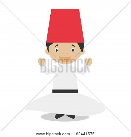 Character from Turkey. Whirling Dervishes dressed in the traditional way Vector Illustration. Kids of the World Collection.