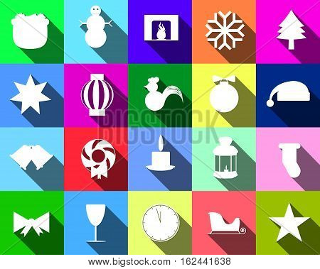 Colorful Icons Of Silhouettes Of Christmas Paraphernalia For The Site