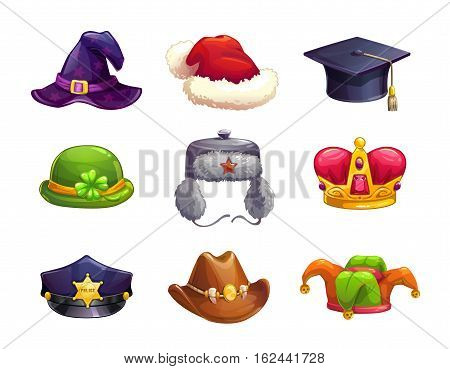 Cartoon different hat icons set. Vector caps collection, isolated on white.