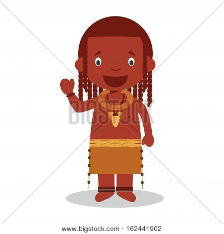 Character from Angola (Himba Tribe) dressed in the traditional way Vector Illustration. Kids of the World Collection.