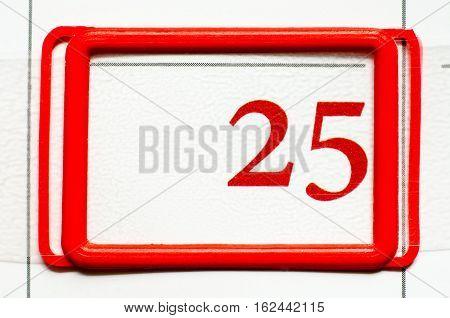a calendar date with number twenty five