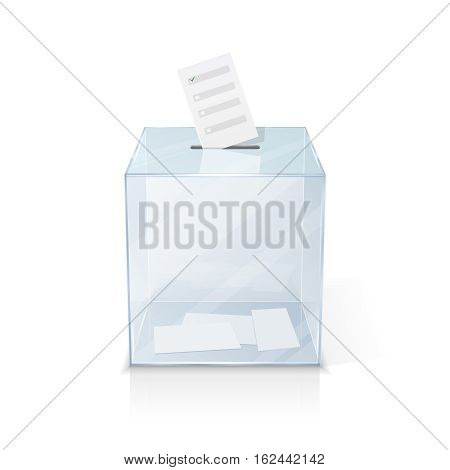 Realistic glass transparent ballot box with marked vote paper isolated vector illustration