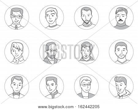 People avatar collection, set of happy men face icons in business and casual clothes, mixed age, Hand drawn thin line sketch style cartoon vector illustration.