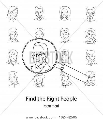 People search, selection, Business recruitment square concept, Many people faces and one selected with magnifying glass, thin line style vector