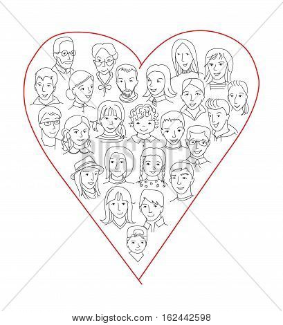 Large group of people heart shape concept, Social netwok, world diversity and unity, person care and love concept, Thin line sketch style vector