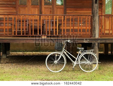 Bicycle in front of Teak Wood House