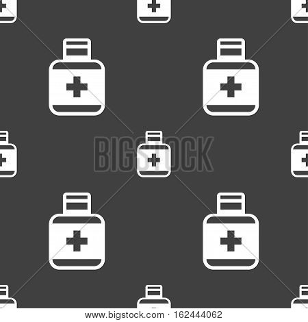 Pill Icons Sign. Seamless Pattern On A Gray Background. Vector