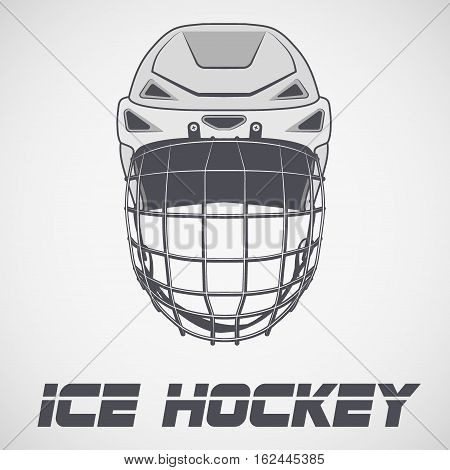 Classic Goalie Hockey Helmet sketch style. Ice and Grass Field sport. Vector Illustration isolated on background.