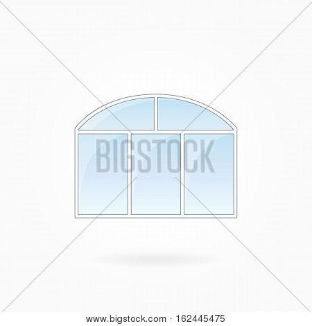 Window frame vector illustration, threefold closed window with twofold arched top. White plastic window with blue sky glass, outdoor objects collection, flat style. Isolated design element. Eps 10