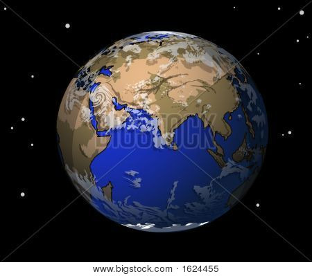 The Earth On A Black Background