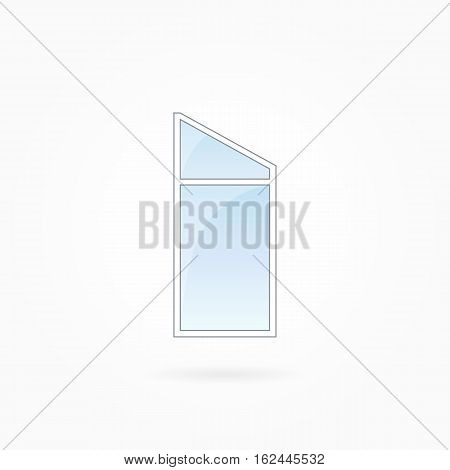 Window frame vector illustration, single closed modern window with trapezium leaf. White plastic window with blue sky glass, outdoor objects collection, flat style. Isolated design element. Eps 10.