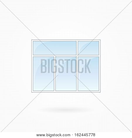 Window frame vector illustration, rectangular threefold closed window with twin top. White plastic window with blue sky glass, outdoor objects collection, flat style. Isolated design element. Eps 10