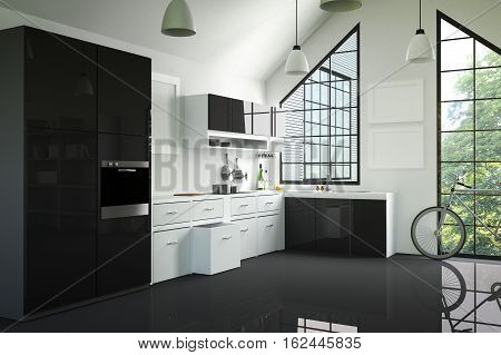 3D Rendering : illustration of modern interior kitchen room.kitchen part of house.black and white shelf.Mock up.shiny floor.green natural and light from outside.hipster