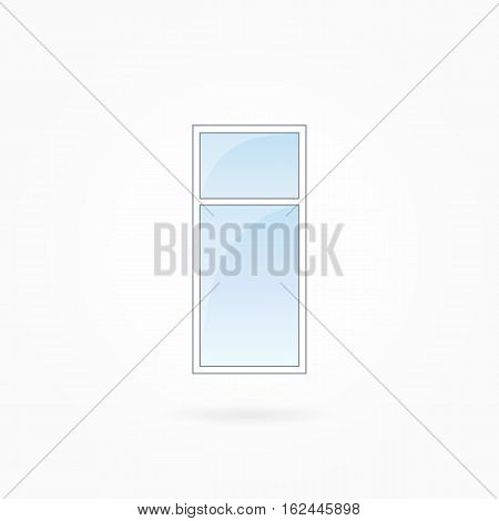 Window frame vector illustration, single closed modern window with leaf. White plastic window with blue sky glass, outdoor objects collection, flat style. Editable isolated design element. Eps 10