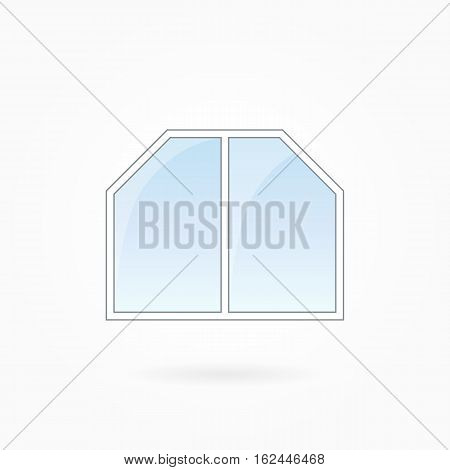 Window frame vector illustration twofold window with two bevelled corners. White plastic window with blue sky glass outdoor objects collection flat style. Editable isolated design element. Eps 10.
