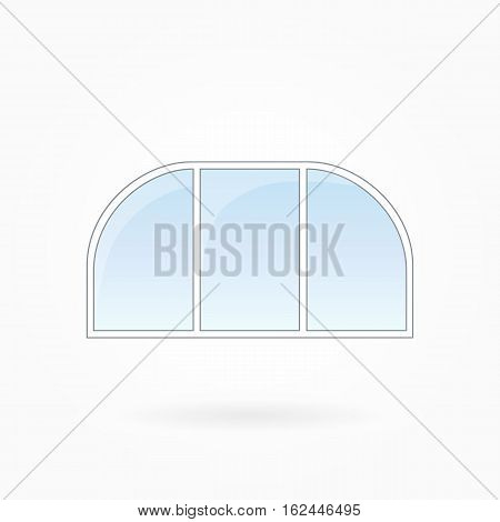 Window frame vector illustration, threefold arched window with two rounded corners. White plastic window with blue sky glass, outdoor objects collection, flat style. Isolated design element. Eps 10