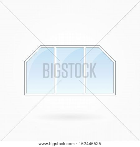 Window frame vector illustration, threefold window with two bevelled corners. White plastic window with blue sky glass, outdoor objects collection, flat style. Editable isolated design element. Eps 10