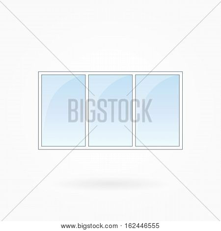 Window frame vector illustration, tripartite closed modern windows. White plastic window with blue sky glass, outdoor objects collection, flat style. Isolated design element for your creations. Eps 10
