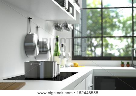 3D Rendering : illustration of modern interior kitchen room.kitchen part of house.black and white shelf.Mock up.shiny floor.green natural and light from outside.hipster.close-up pan or pot