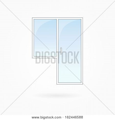 Window and door frame vector illustration, transparent closed balcony door. White plastic door with blue sky glass, outdoor objects collection, flat style. Editable isolated design element. Eps 10
