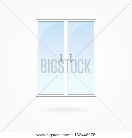 Door frame vector illustration, two-leaved closed transparent glassy door. White plastic door with blue sky glass, outdoor objects collection, flat style. Editable isolated design element. Eps 10