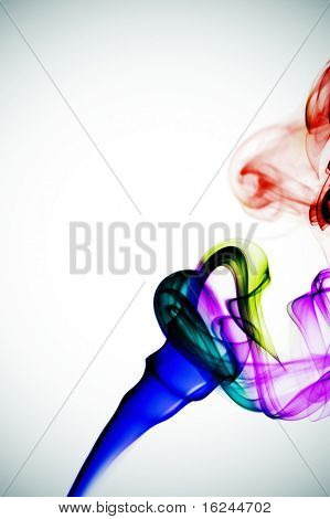 colored smoke on a degraded white background
