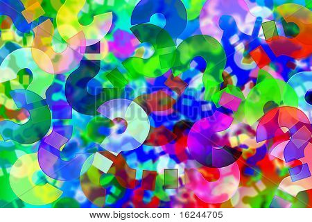 background of question marks of different colors