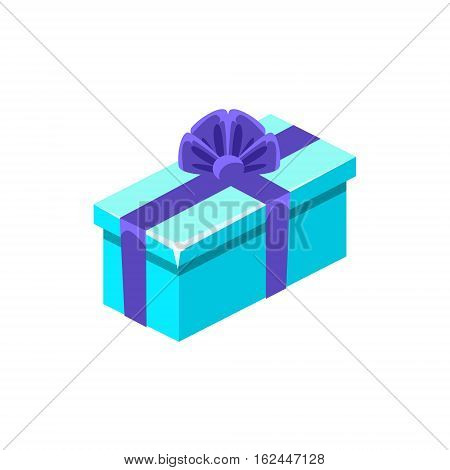 Light Blue With Dark Blue Bow Gift Box With Present, Decorative Wrapped Cardboard Celebration Giftbox. Colorful Isolated Icon With Specially Packed Party Offering.