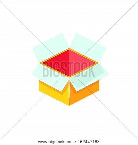 Yellow Empty Gift Box Without Present, Decorative Wrapped Cardboard Celebration Giftbox. Colorful Isolated Icon With Specially Packed Party Offering.