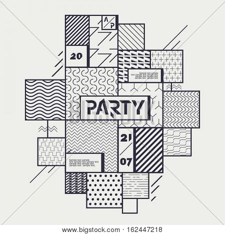Geometric design posters for parties and events